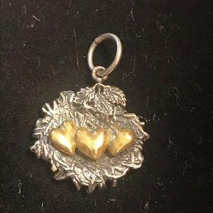 Waxing Poetic Love Nest charm - 3 hearts